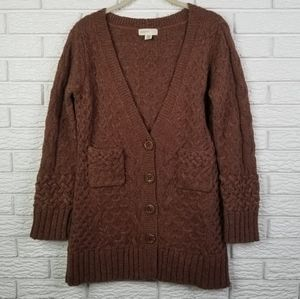 Anthro Sleeping On Snow Cable Knit Cardigan M